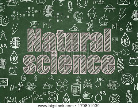 Science concept: Chalk Pink text Natural Science on School board background with  Hand Drawn Science Icons, School Board