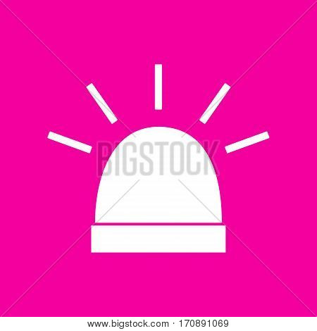 Police single sign. White icon at magenta background.