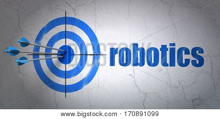 Success Science concept: arrows hitting the center of target, Blue Robotics on wall background, 3D rendering