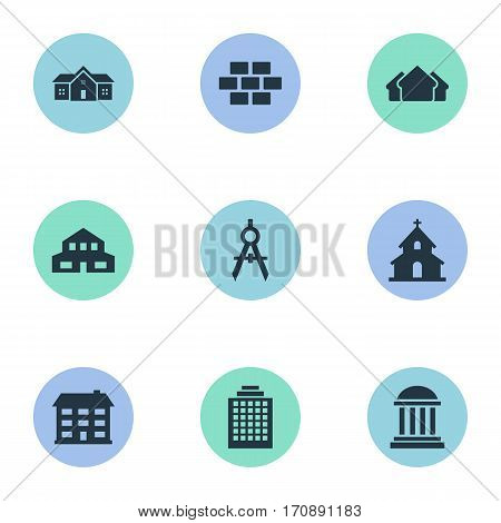 Set Of 9 Simple Architecture Icons. Can Be Found Such Elements As Engineer Tool, Offices, Shelter And Other.