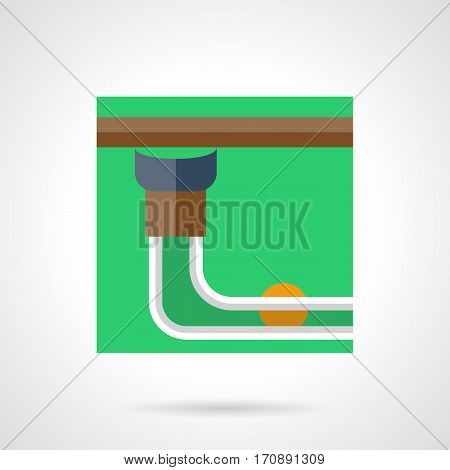 A view of billiard pocket with yellow ball on a side of pool table. Game room equipment. Stylish square flat design green vector icon with long shadow.
