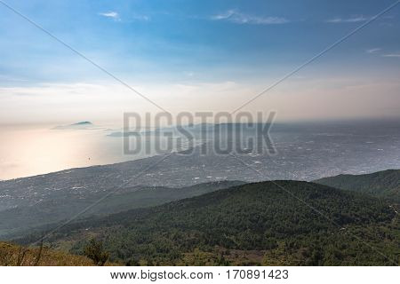 Foggy view of gulf of Naples from Mount Vesuvius