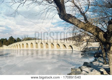 Stone bridge in imperial garden at the Summer Palace Beijing - China