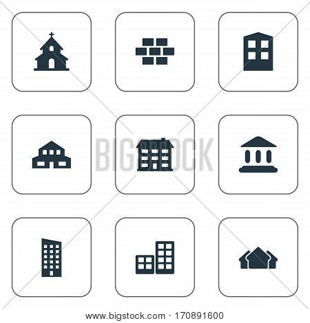 Set Of 9 Simple Structure Icons. Can Be Found Such Elements As Flat, Construction, Shelter And Other.