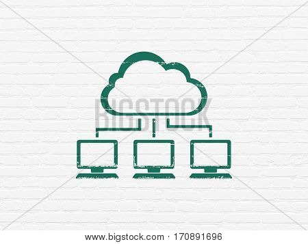 Cloud computing concept: Painted green Cloud Network icon on White Brick wall background