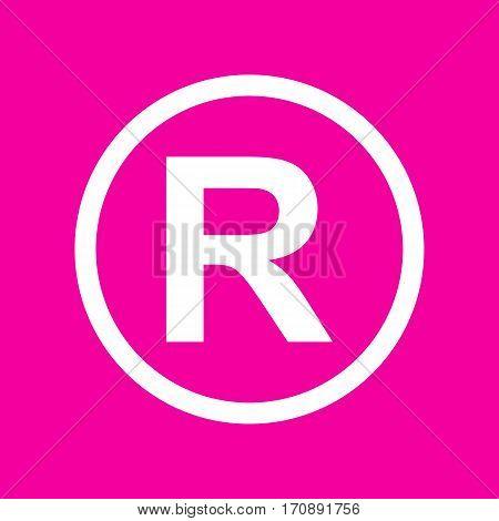 Registered Trademark sign. White icon at magenta background.