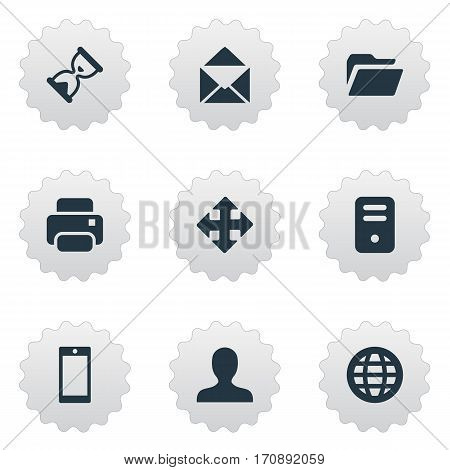 Set Of 9 Simple Application Icons. Can Be Found Such Elements As Sand Timer, Smartphone, Web.