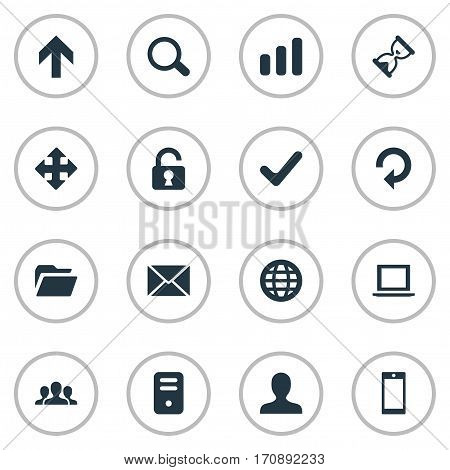 Set Of 16 Simple Practice Icons. Can Be Found Such Elements As Smartphone, Open Padlock, Arrows And Other.