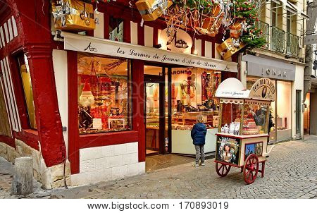 Rouen France - november 26 2016 : pastry in the historical city center in winter