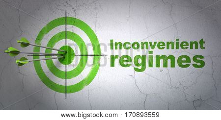 Success politics concept: arrows hitting the center of target, Green Inconvenient Regimes on wall background, 3D rendering