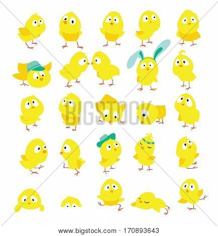 Set of funny chickens for Easter decoraction Cartoon vector flat clipart