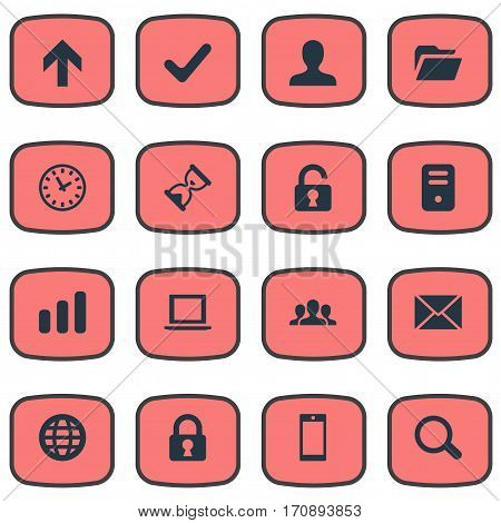 Set Of 16 Simple Application Icons. Can Be Found Such Elements As Sand Timer, Magnifier, Check.