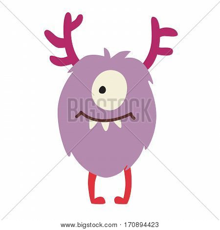 Monster vector. Kids cartoon toy colorful cute character. Vivid fabulous incredible creatures. Round horned cyclops. Isolated on white background