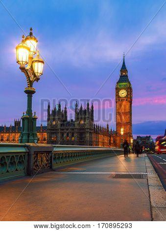 Big Ben and Westminster Bridge in London at sunset UK.