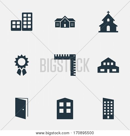 Set Of 9 Simple Architecture Icons. Can Be Found Such Elements As Residential, Popish, Reward And Other.