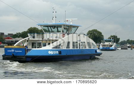 Ferry Over River Ij