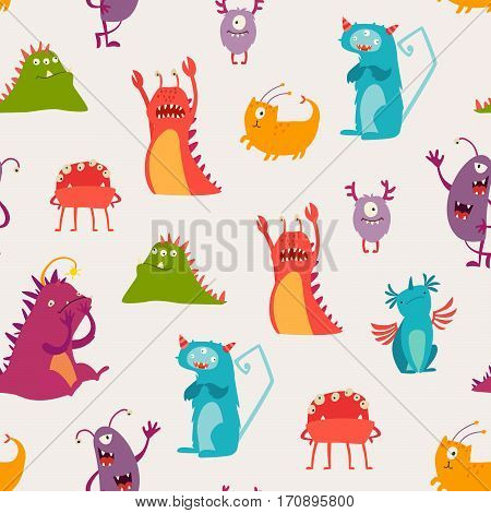 Monsters seamless pattern vector illustration. Doodle pattern with happy cheerful creature cyclops. Vivid fabulous incredible creatures. Monsters with lot of eyes and wings
