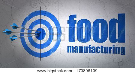 Success Manufacuring concept: arrows hitting the center of target, Blue Food Manufacturing on wall background, 3D rendering