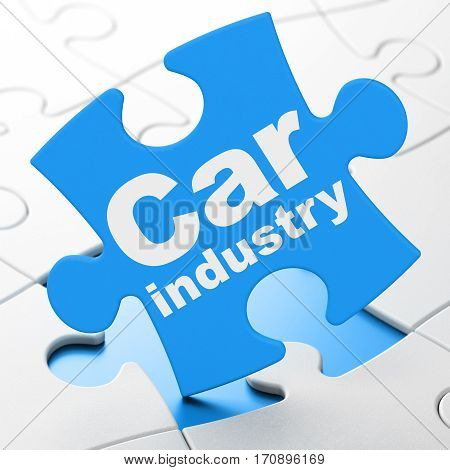 Manufacuring concept: Car Industry on Blue puzzle pieces background, 3D rendering