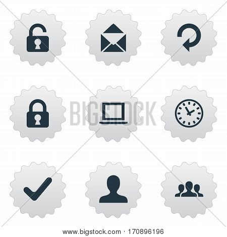 Set Of 9 Simple Apps Icons. Can Be Found Such Elements As Open Padlock, Refresh, Watch And Other.