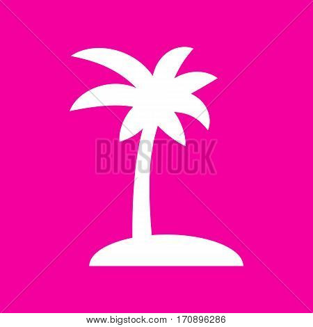 Coconut palm tree sign. White icon at magenta background.