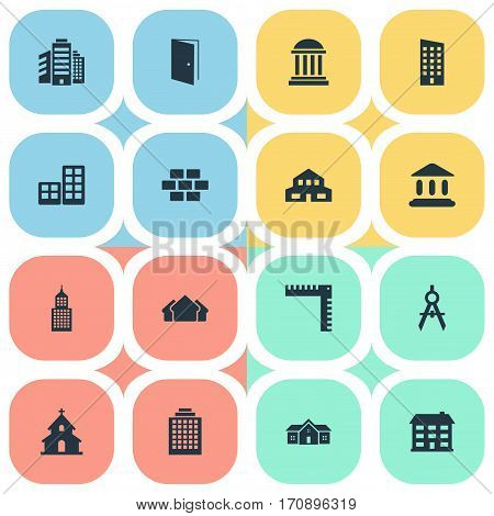 Set Of 16 Simple Construction Icons. Can Be Found Such Elements As Structure, Residential, Academy And Other.