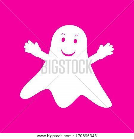 Ghost isolated sign. White icon at magenta background.