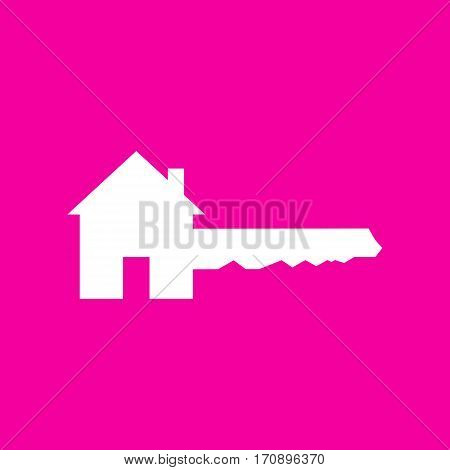 Home Key sign. White icon at magenta background.