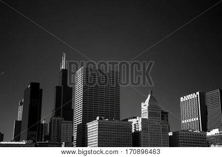 Chicago Skyline architecture Infrared Black and White