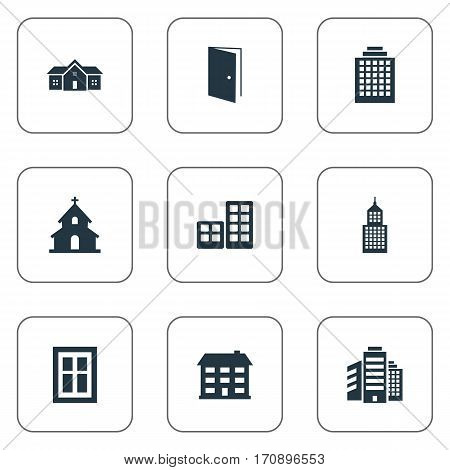 Set Of 9 Simple Architecture Icons. Can Be Found Such Elements As Popish, Glazing, Structure And Other.