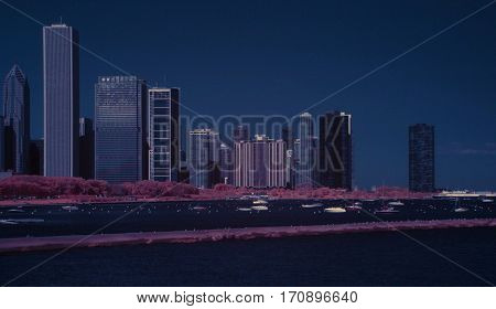 Chicago infrared color swap Skyline city blue and pink