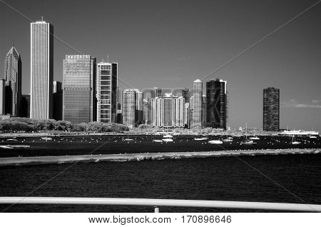 Chicago infrared black and white Skyline shoreline