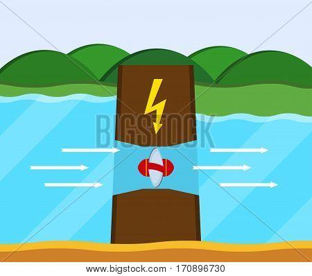 Tidal power station. Flat style cartoon tidal dam. Innovation clean power. Vector illustration.