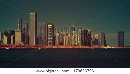 Chicago lakeshore coastline infrared color swap Skyline cityscape