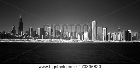 Chicago Skyline cityscape infrared black and white with full spectrum camera