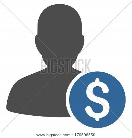 Investor vector icon. Illustration style is a flat iconic bicolor cobalt and gray symbol on white background.