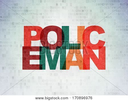 Law concept: Painted multicolor text Policeman on Digital Data Paper background
