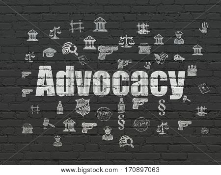 Law concept: Painted white text Advocacy on Black Brick wall background with  Hand Drawn Law Icons