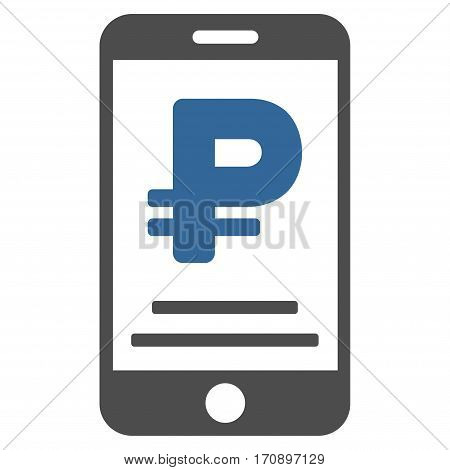Rouble Mobile Payment vector pictogram. Illustration style is a flat iconic bicolor cobalt and gray symbol on white background.