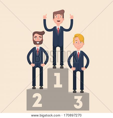 Businesspeople are standing on a podium. First place. Advantage. Flat. Vector