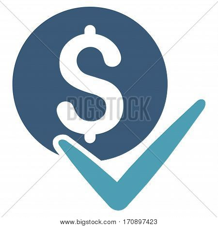 Accept Payment vector icon. Illustration style is a flat iconic bicolor cyan and blue symbol on white background.