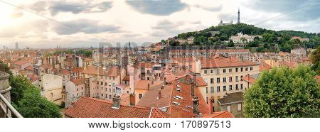 Panoramic View Of Old Lyon And The Hill Of Fourviere In France
