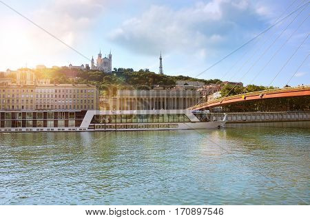 Saone River And Fourviere Hill In The Background Lyon France