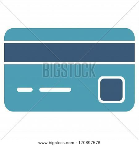 Bank Card vector pictograph. Illustration style is a flat iconic bicolor cyan and blue symbol on white background.