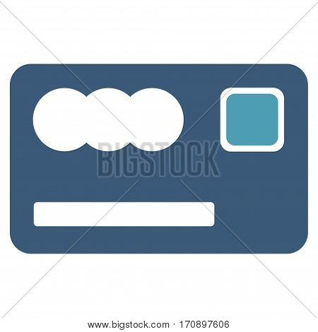 Banking Card vector icon. Illustration style is a flat iconic bicolor cyan and blue symbol on white background.