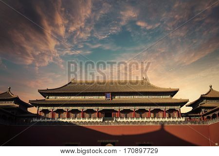 Image of ancient imperial palace with beautiful twilight sky of the Forbidden City in Beijing China