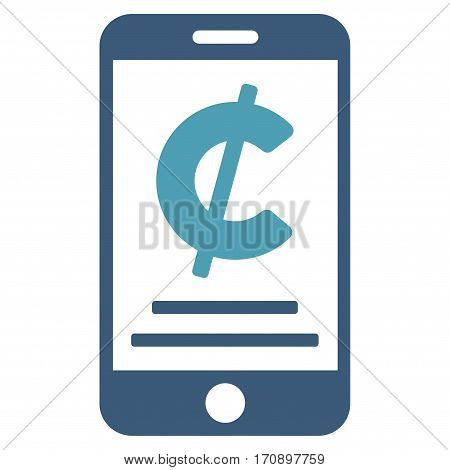 Cent Mobile Payment vector icon. Illustration style is a flat iconic bicolor cyan and blue symbol on white background.