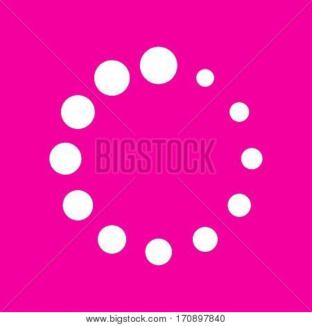 Circular loading sign. White icon at magenta background.