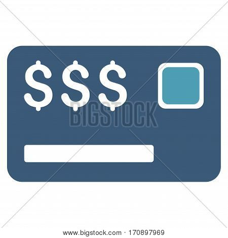 Credit Card vector icon. Illustration style is a flat iconic bicolor cyan and blue symbol on white background.