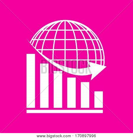 Declining graph with earth. White icon at magenta background.
